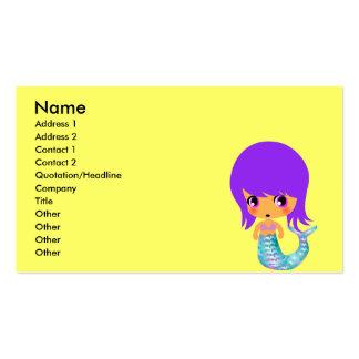 pelo mágico de la púrpura de la sirena del chibi tarjetas de visita
