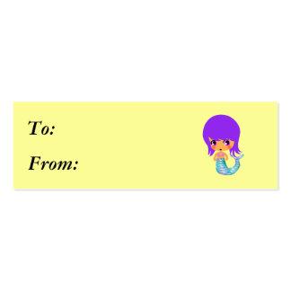pelo mágico de la púrpura de la sirena del chibi plantilla de tarjeta de negocio