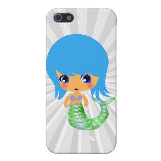 pelo mágico del azul de la sirena del chibi iPhone 5 protectores