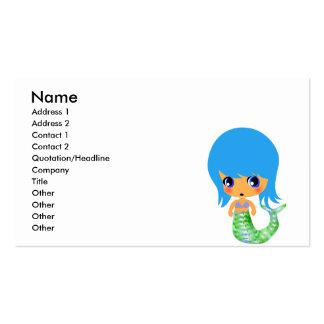 pelo mágico del azul de la sirena del chibi tarjetas de visita