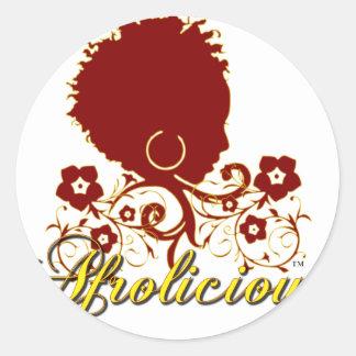 Pelo natural: Afrolicious Pegatina Redonda