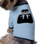 Pelo negro de 2 novios camisas de perritos