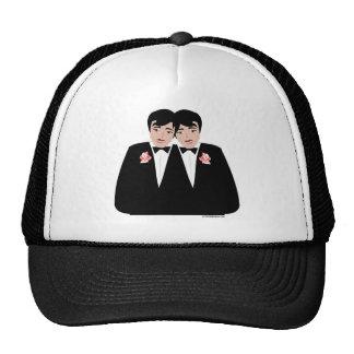 Pelo negro de 2 novios gorras de camionero