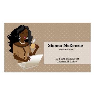 Pelo negro de la mujer de carrera tarjetas de visita