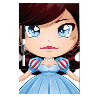 Pelo negro de princesa With en vestido azul Pizarra Blanca