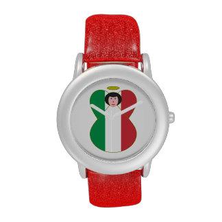 Pelo negro del ángel italiano de la bandera relojes de mano