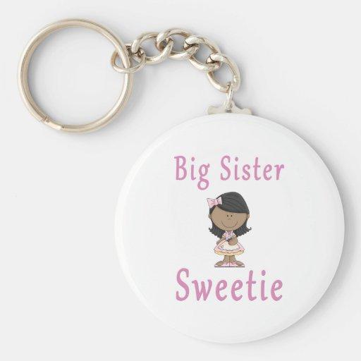 Pelo negro del Sweetie de la hermana grande Llaveros Personalizados