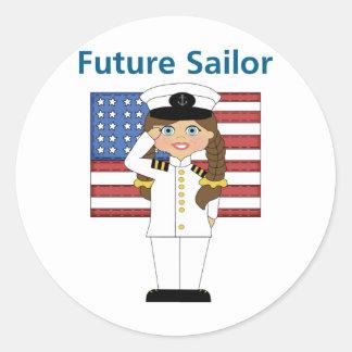 Pelo oscuro del chica futuro del marinero pegatina redonda