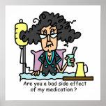 Pelo oscuro del efecto secundario de la medicación posters