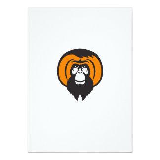 """Pelo peleado barbudo del orangután retro invitación 4.5"""" x 6.25"""""""