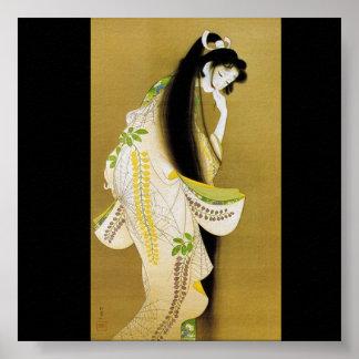 Pelo que fluye largo del chica japonés posters