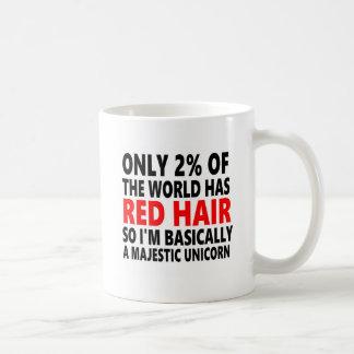 Pelo rojo divertido taza