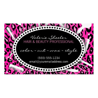 Pelo rosado del estampado leopardo y descuento de  plantilla de tarjeta personal