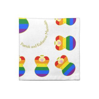Pelo rubio de la bandera del arco iris del ángel servilletas imprimidas