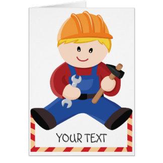 Pelo rubio de la construcción del trabajador tarjeta de felicitación
