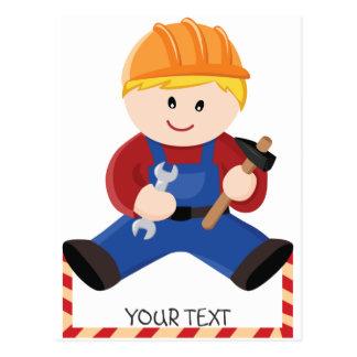 Pelo rubio de la construcción del trabajador tarjetas postales