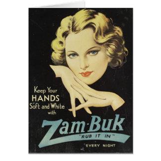 Pelo rubio de la mujer de la crema de la mano del tarjeta de felicitación