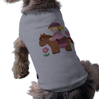 Pelo rubio del montar a caballo, caballo marrón playera sin mangas para perro