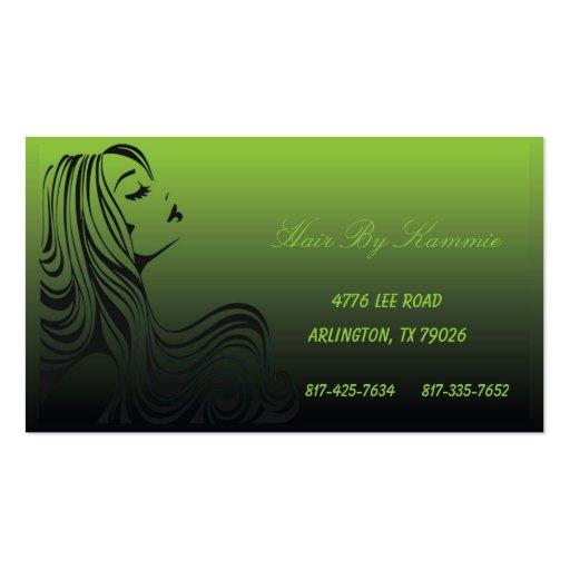 Pelo verde eléctrico, clavo, tarjeta de visita del