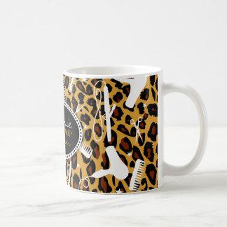 Pelo y belleza del estampado leopardo tazas de café