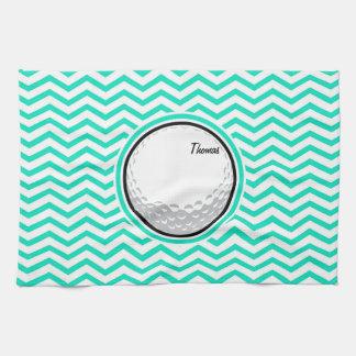 Pelota de golf; Aguamarina Chevron verde Toalla