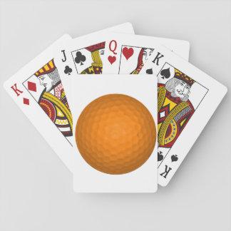Pelota de golf anaranjada baraja de cartas