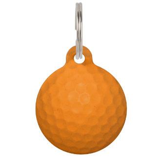 Pelota de golf anaranjada identificador para mascota