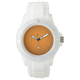 Pelota de golf anaranjada relojes de pulsera