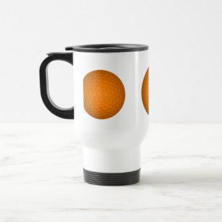 Pelota de golf anaranjada tazas de café