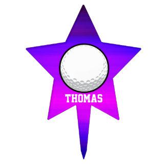 Pelota de golf; Azul violeta y magenta vibrantes Figura Para Tarta