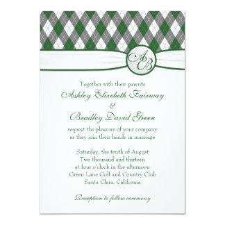 """Pelota de golf de Argyle Golfing el boda verde del Invitación 5"""" X 7"""""""