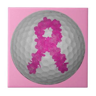 Pelota de golf de la conciencia del cáncer de pech azulejo cuadrado pequeño