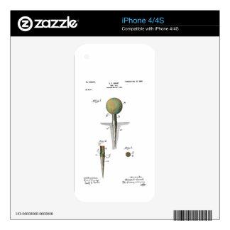 Pelota de golf de la patente en camiseta calcomanías para el iPhone 4S