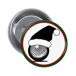 Pelota de golf del navidad pin redondo de 2 pulgadas
