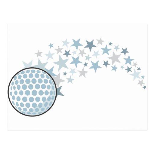 Pelota de golf del vuelo con las estrellas postal