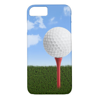 Pelota de golf en camiseta, el cielo y la hierba funda iPhone 7