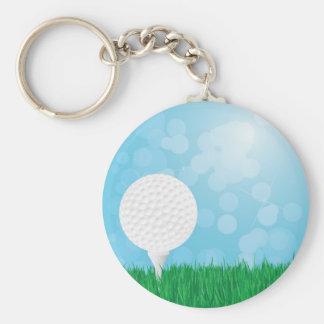 pelota de golf en hierba llaveros personalizados