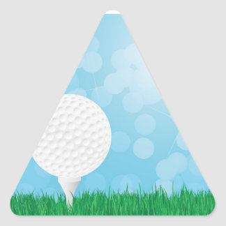pelota de golf en hierba pegatina triangular