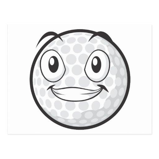 Pelota de golf feliz postal