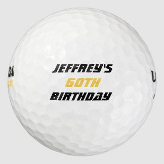 Pelota de golf personalizada, 60.o cumpleaños pack de pelotas de golf