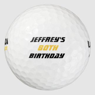 Pelota de golf personalizada, 80.o cumpleaños pack de pelotas de golf
