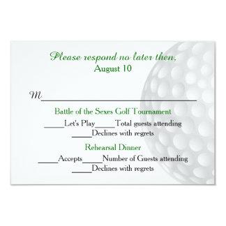 Pelota de golf pre que casa la tarjeta de RSVP de Invitacion Personalizada