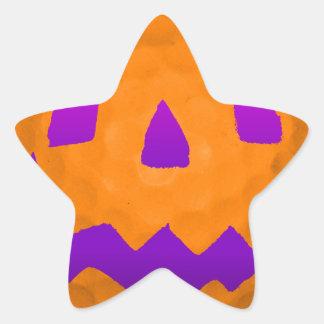 Pelota de golf púrpura de Halloween del resplandor Pegatina En Forma De Estrella