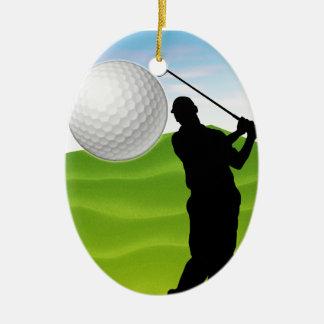 Pelota de golf que viene en usted adorno ovalado de cerámica
