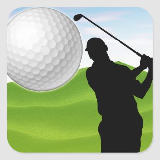 Pelota de golf que viene en usted pegatina cuadrada