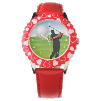 Pelota de golf que viene en usted relojes