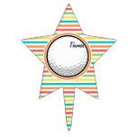 Pelota de golf; Rayas brillantes del arco iris Decoración Para Tarta