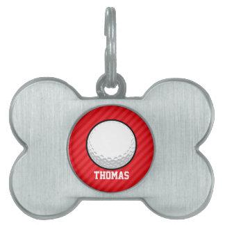Pelota de golf; Rayas del rojo del escarlata Placas De Mascota