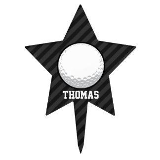 Pelota de golf; Rayas negras y gris oscuro Figuras Para Tartas