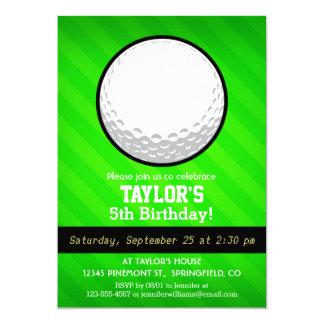 Pelota de golf; Rayas verdes de neón Invitación 12,7 X 17,8 Cm